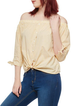 Pinstripe Off the Shoulder Top - 1401069398536