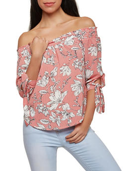 Striped Floral Off the Shoulder Top - 1401069398689