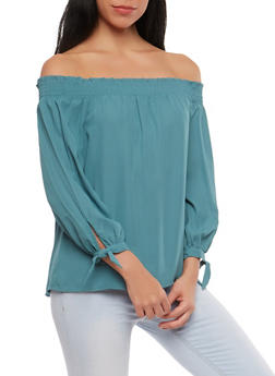 Tie Sleeve Off the Shoulder Top - 1401069398796
