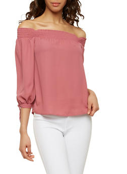 Tie Sleeve Off the Shoulder Top - 1401069398796