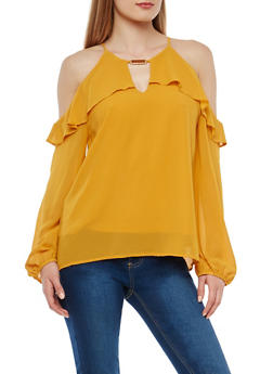 Cold Shoulder Ruffle Top with Metallic Detail - 1401069398905