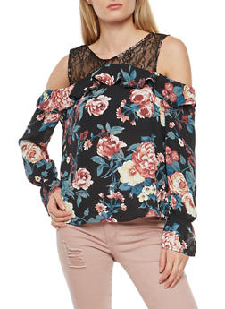 Floral Lace Cold Shoulder Top - 1401069398946