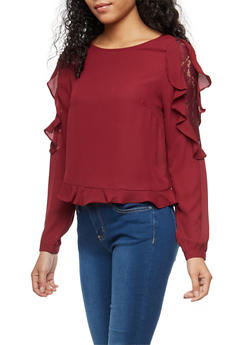Blouse with Lace and Ruffle Details - 1401069399161