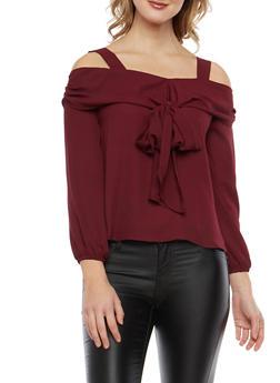Cold Shoulder Tie Front Top - 1401069399163