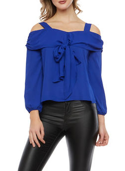 Cold Shoulder Tie Front Top - 1401069399163