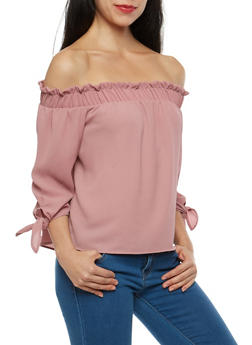 Tie Sleeve Crepe Knit Off the Shoulder Top - 1401069399220