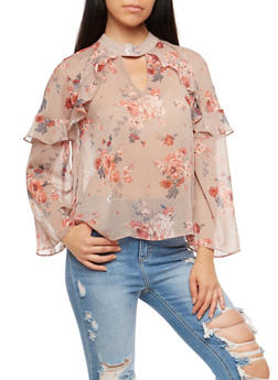 Floral Print Ruffle Keyhole Top - 1401069399264