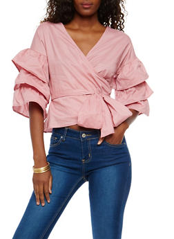 Tiered Sleeve Tie Front Top - 1401069399318