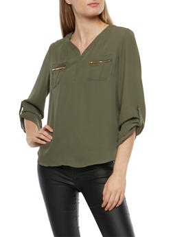 Crepe Knit Blouse with Faux Zip Pockets - OLIVE - 1401069399357