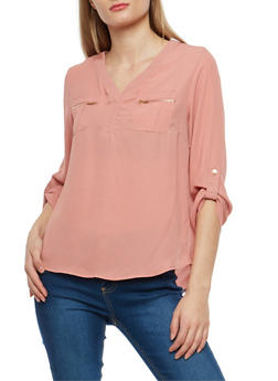 Crepe Knit Blouse with Faux Zip Pockets - 1401069399357
