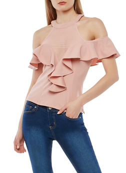 Ruffled High Neck Cold Shoulder Top - 1401069399387