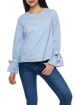 Solid Tie Sleeve Top - 1401069399416