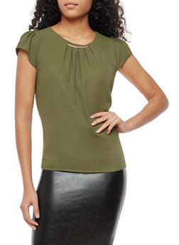 Cap Sleeve Blouse with Metallic Bar Neckline - 1401069399432