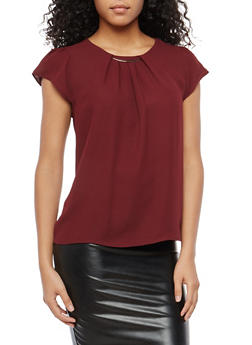 Cap Sleeve Blouse with Metallic Bar Neckline - 1401069399432