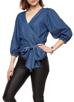 Chambray Wrap Front Top - 1401069399474