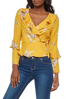 Floral Polka Dot Print Wrap Top - 1401069399524