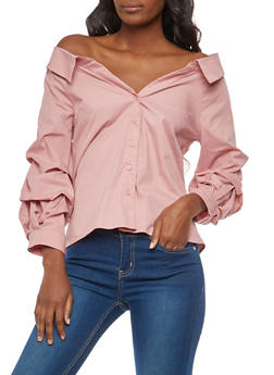 Off the Shoulder Button Front Top - 1401069399563