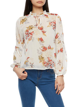 Floral Shimmer Chiffon Blouse - 1401069399613