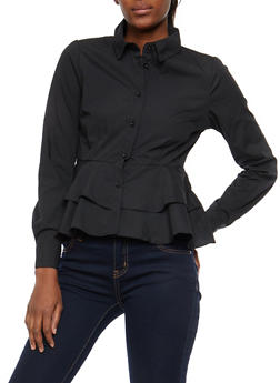 Tiered Peplum Button Front Shirt - BLACK - 1401069399623