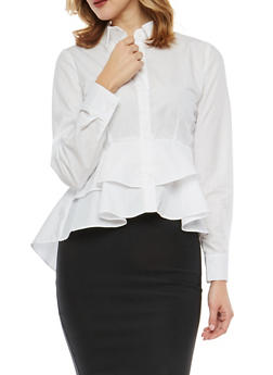 Tiered Peplum Button Front Shirt - WHITE - 1401069399623