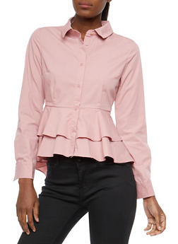 Tiered Peplum Button Front Shirt - MAUVE - 1401069399623