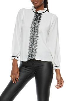 Lace Trim Tie Neck Top - 1401069399635