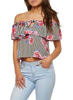 Striped Floral Off the Shoulder Top - 1401069399644