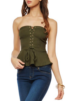 Strapless Lace Up Peplum Top - 1401069399677