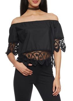 Off The Shoulder Crop Top with Crochet Trim - 1401072292501
