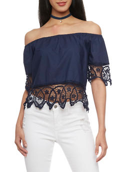 Off The Shoulder Crop Top with Crochet Trim - 1401072292501