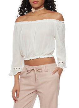 Crinkle Knit Off The Shoulder Crop Top with Crochet Insert - WHITE - 1401072292521