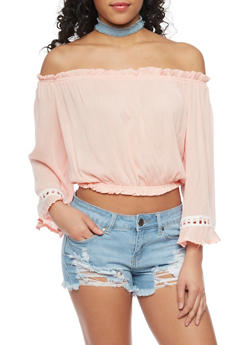 Crinkle Knit Off The Shoulder Crop Top with Crochet Insert - 1401072292521
