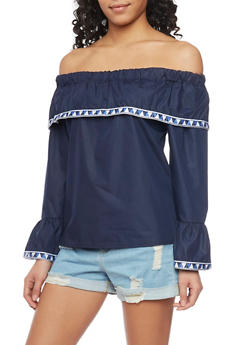 Off The Shoulder Bell Sleeve Top with Aztec Trim - 1401072292531