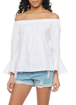 Off the Shoulder Ruffle Cuff Top - WHITE - 1401072292551