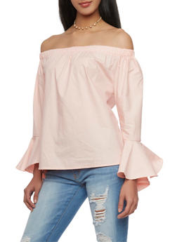 Off the Shoulder Ruffle Cuff Top - 1401072292551