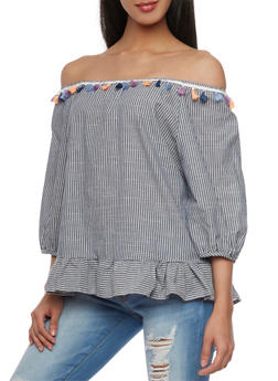 Off The Shoulder Pinstripe Ruffle Hem Top with Tassel Trim - 1401072292581