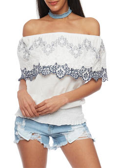 Off The Shoulder Crochet Trim Top with Smocked Waist - 1401072292601