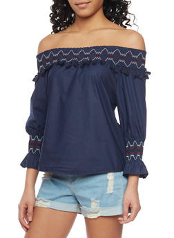 Off The Shoulder Embroided 3/4 Bell Sleeve Top - 1401072292621