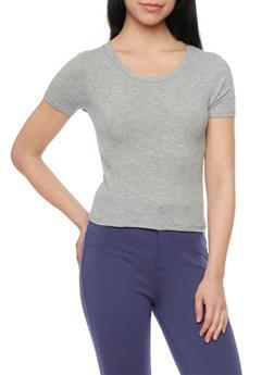 Short Sleeve Rib Knit Crop Top - 1402054210815