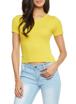 Short Sleeve Rib Knit Crop Top - MUSTARD - 1402054210815
