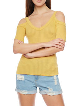 Rib Knit Short Sleeve Cold Shoulder Top - MUSTARD - 1402054211598