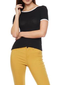 Short Sleeve Ribbed Knit T Shirt - BLACK/WHITE - 1402054211713