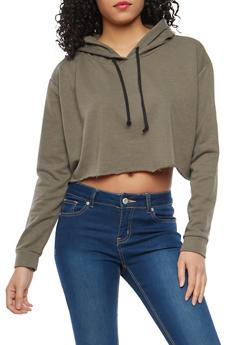 Hooded Cropped Sweatshirt - 1402054212128