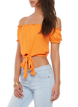 Ribbed Knit Tie Front Off the Shoulder Top - 1402054212413