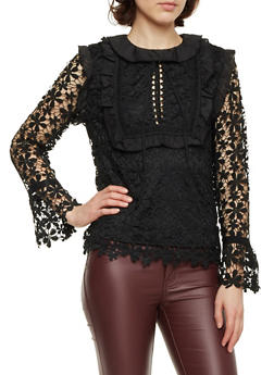 Crochet Top with Ruffle Trim and Bell Sleeves - 1402054213059