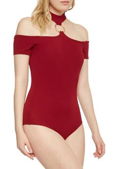 Off the Shoulder O Ring Halter Neck Bodysuit - BURGUNDY - 1402054213161