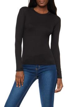 Basic Rib Knit High Neck Top - 1402054216099