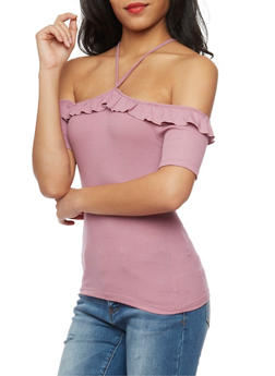 Rib Knit Off the Shoulder Halter Top with Ruffle Trim - 1402054216177