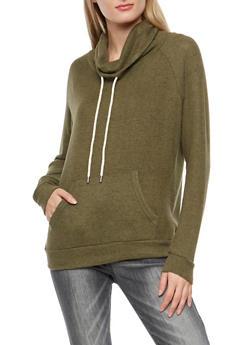 Fleece Cowl Neck Sweatshirt - 1402054216179
