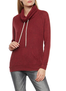 Fleece Cowl Neck Sweatshirt - 1402054216179